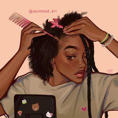"""🧸🌱☁️cornelia ☆💖✨ on Twitter: """"Hair care 💖💫✨… """" Black Girl Cartoon, Black Girl Art, Black Women Art, Art Girl, Black Girls, Black Art Painting, Black Artwork, Black Girl Aesthetic, Aesthetic Art"""