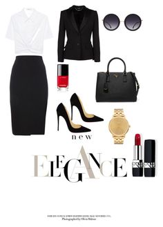 """""""job 😘"""" by aggeliki27796 on Polyvore featuring T By Alexander Wang, Alexander McQueen, Christian Louboutin, Prada, Chanel, Alice + Olivia, Nixon and Christian Dior"""