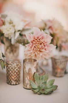 dahlias succulents and mercury glass wedding centerpieces - Deer Pearl Flowers