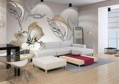Carta da parati fiori minimal - Carta da parati moderna e di design: per soggiorno.