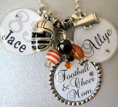 Baseball Mom - Football and Cheer Mom  -Triple Silver Pendant Necklace inTeam Colors - Baseball, Softball, Basketball, Sports Mom. $30.00, via Etsy.
