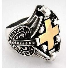 This Cross Heart Ring adds a stupendous design, stout size, and juxtaposition of gold and silver to the mix. The solid silver frame highlights the golden cross Silver Skull Ring, Mens Silver Rings, Silver Man, Skull Rings, Gothic Rings, Gothic Jewelry, Silver Jewelry, Men's Jewelry, Celtic Rings