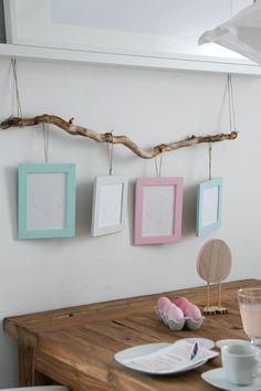 Bilderrahmen mit Kreidefarbe in Pastelltönen gestrichen und mit Ostermotiven gefüllt, die mit Silhouette Cameo gezeichnet wurden