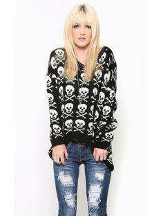 #Skull High Low #Sweater