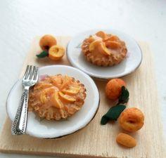 Peach Tarts 1/12 Scale Dollhouse Miniature Food. $9.50, via Etsy.