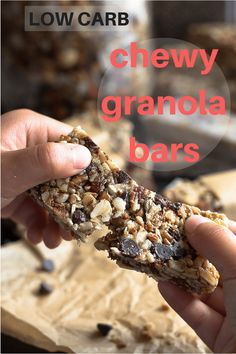 These low carb chewy granola bars are also a gluten and grain-free healthy snack.