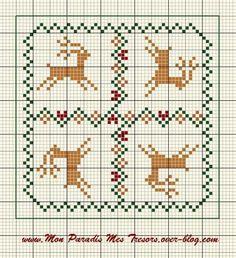 Free reindeer cross stitch pattern.