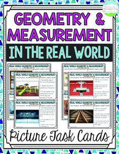 Bring real world relevance to your geometry and measurement unit with these picture task cards! Perfect for showing geometry and measurement concepts in real life.