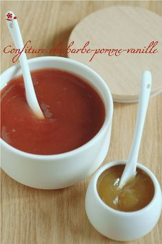 Confiture rhubarbe-pomme-vanille_1 Buddha Bowl, Mets, Tableware, Desserts, Passion, Food, Bowls, Kitchen, Stems