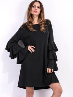 Black Tiered Bell Sleeve Shift Dress