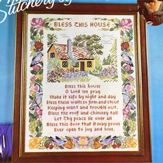 BLESS THIS HOUSE Sampler Vintage Stamped Cross Stitch Kit Paragon Stitchery by Julie by NeedleLittleTherapy on Etsy