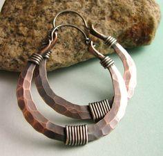 Large Boho Sterling Silver And Copper Hoops - Rustic Tribal Mixed Metal Hoop Earrings Metalsmith Jewelry, via Etsy.