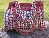 Upcycled Mauve Crochet Pop Tab Hand Bag