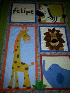 Baby jungle animals quilt!