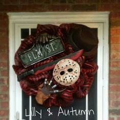 freddy vs jason halloween wreath created by lilly autumn - Freddy Krueger Halloween Decorations