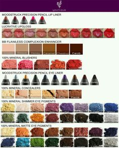 Younique color chart.  All natural company. 14 Day LOVE IT guarantee.  order at www.youniquelysherry.com or click on the picture
