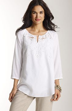 Women's > tonal embroidered cutwork blouse at J.Jill