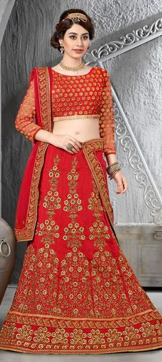 INDIAN BRIDAL WEAR: Designer Floral stone and lace work.  #bride #IndianWedding #Lehenga #red #Ethnicwear