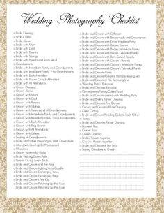 wedding photography, photographi checklist
