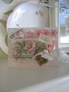 Pink Birthday Card Victorian Card Shabby Chic Card