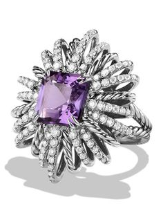 Y2XAL David Yurman 30mm Diamond & Amethyst Starburst Ring