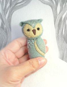 Grey Felt Owl Brooch Handmade OOAK Woodland by Whimsylandia