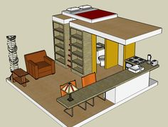 size for a tiny house for 2 - two bedroom design Tiny Cabins, Tiny House Cabin, Cabins And Cottages, Tiny House Design, Small House Plans, House Floor Plans, Compact House, Cabin Interiors, House Layouts