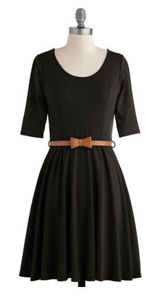 Black dress with bow belt