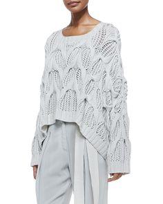 Donna Karan Cashmere Oversized Boat-Neck Sweater & Pleated Cuffed Sash-Belt Pants|