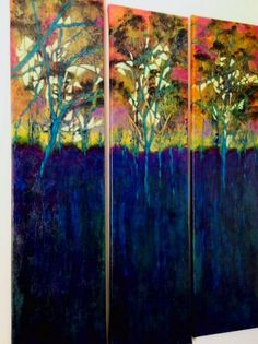 """Dreams of You"" acrylic on canvas  each panel measures 9"" x 36"""