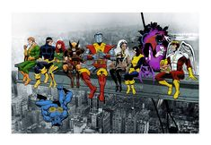 X-Men Lunch Atop A Skyscraper Wall Art The X-Men take a break from saving the universe high above New York. Available as a Mounted Canvas or an Art Print /Poster The X-Men take a break from saving the universe high above New York. Marvel Gifts, Superhero Gifts, Superhero Poster, Avengers Poster, Superhero Characters, Marvel Wall Art, Marvel Canvas, Lunch Atop A Skyscraper, Art Of Dan