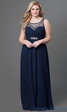 Sydney's Closet Floor Length Illusion Neckline Gown