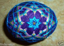 Temari Egg Created using Bright Blue and Light Purple over Bright Purple