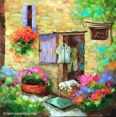 """French Boutique Bichon and the Paint France Countdown - Floral and French Paintings by Nancy Medina"" - Original Fine Art for Sale - ©Nancy Medina"