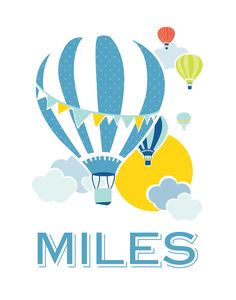 Hot Air Balloon 11x14 Baby Name Nursery Art  ///  by Kindertype, $34.00