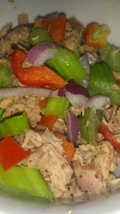 Tuna, red onion, red capsicum and celery with a squeeze of lemon juice and freshly cracked black pepper