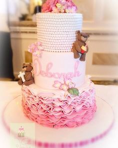 Pink Ombre Ruffles Christening Cake