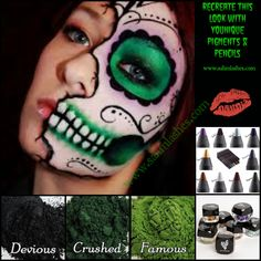 Recreate this look with Younique's Pigments & Pencils. Mix our Mineral Pigments with a drop of water or Refreshed Rose Water for a creamy smooth application. Last ALL Day. Great for Halloween, Dia De Los Muertos, Day Of The Dead... Order today at www.sahmlashes.com $10, $15