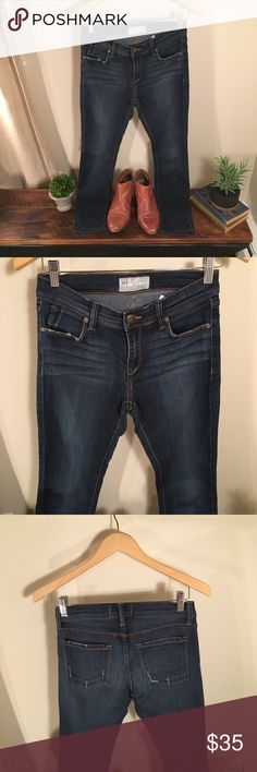 Free People Dark Wash Jean FP Dark Wash Jean, cropped length. Perfect with booties or wooden heeled Clogs! Free People Jeans Ankle & Cropped