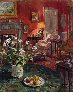 Susan Ryder, RP NEAC (English) 'Interior with White Geraniums'