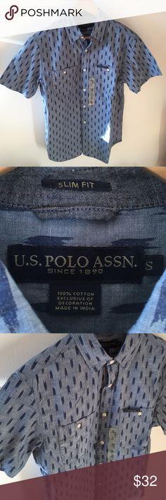 ✨NWT Men's Button Down Shirt. U.S POLO ASSN Men's Button Down Short Sleeves Shirt. Size S U.S POLO ASSN Shirts Casual Button Down Shirts