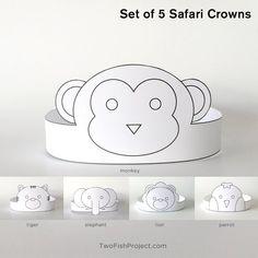 Set of 5 DIY Printable Safari / Jungle Animal Paper Crowns: lion, monkey, tig. Safari Crafts, Zoo Crafts, Birthday Party Favors, Diy Birthday, Birthday Parties, Birthday Crowns, Baby Shower Favors, Baby Shower Decorations, Safari Hat