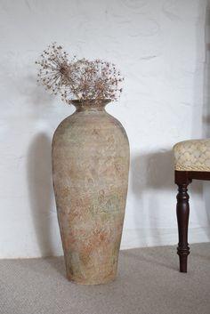 Floor Vase Decor, Tall Floor Vases, Vases Decor, Earthenware, Large Vases, Jar, House Elevation, Glass Doors, Future House