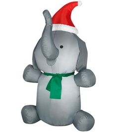 4 ft airblown inflatable elephant outdoor inflatables christmas decor holiday party - Christmas Elephant Outdoor Decoration