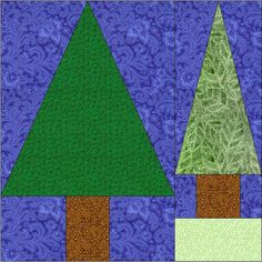 Pine Tree Quilt Block Pattern by CurlicueCreations on Etsy, $2.50