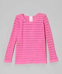 Love this Malibu Pink Open-Weave Tee on #zulily! #zulilyfinds