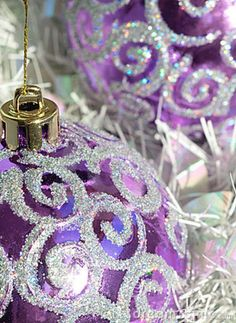 """chasingrainbowsforever: """" Sparkling Christmas Ornaments ~ Purple and Silver """""""