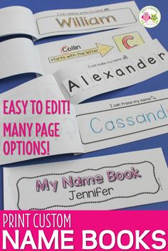 Make name books for your class and provide lots of name writing practice for your kids. Kids will learn to recognize their name and learn to write their name with these name handwriting practice books. A perfect activity for your writing centers, literacy centers, morning work, and ELA work stations in preschool, pre-k, kindergarten, RTI, SPED, and OT. This resource contains 11 different pages that you can add to your name books - customize your books to meet the needs of your students. It…