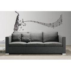 Vinyl Wall Art Decal Sticker Saxophone w/ Music Notes, Big Sax #326  Too Cool  !!  $34.95