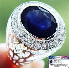 Rear 17.85 cts Genuine Blue Sapphire & W.Topaz Filigree Ring 925SS S#10 NR WOW! #JPS #Gents